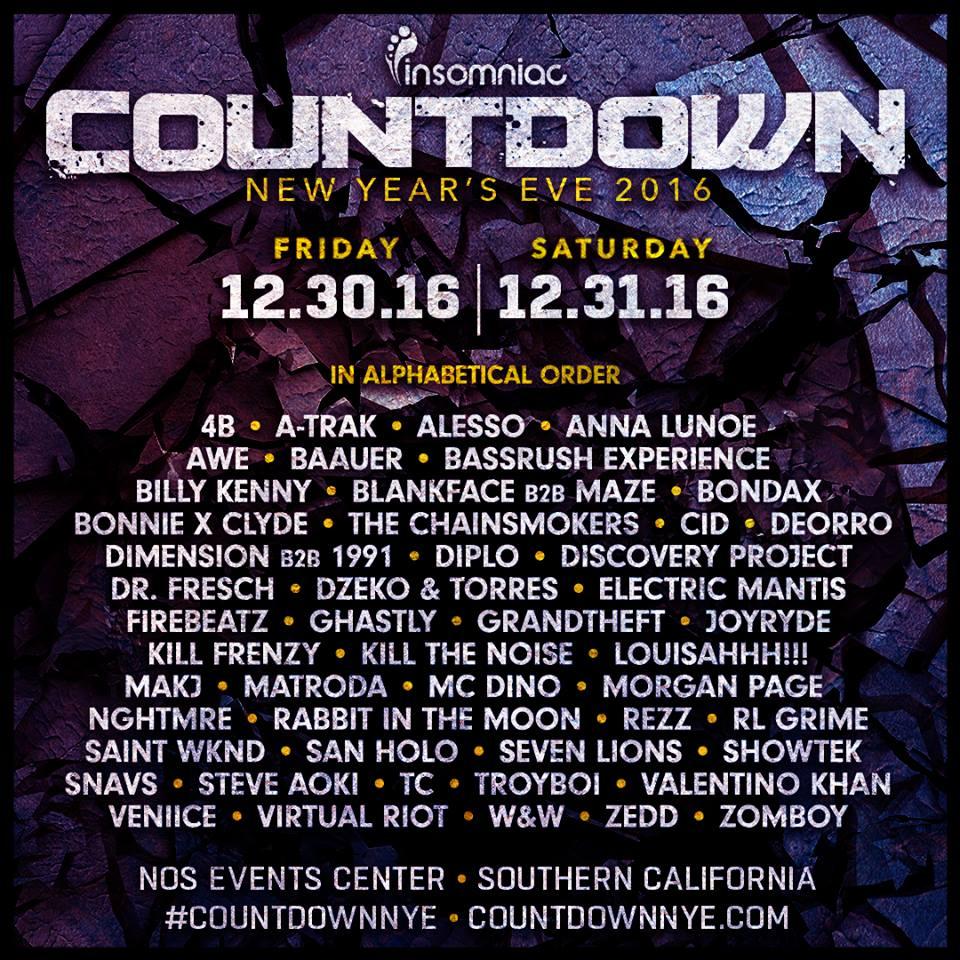Countdown NYE 2016 Lineup