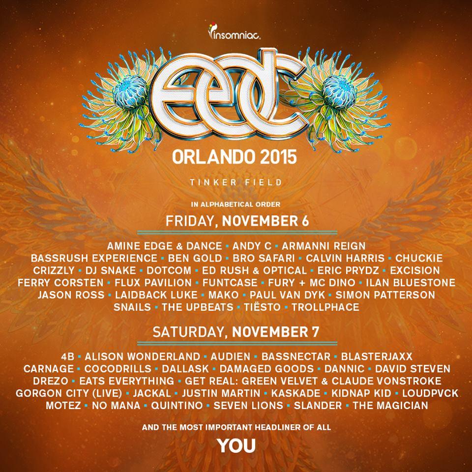 edc orlando 2015 daily lineup
