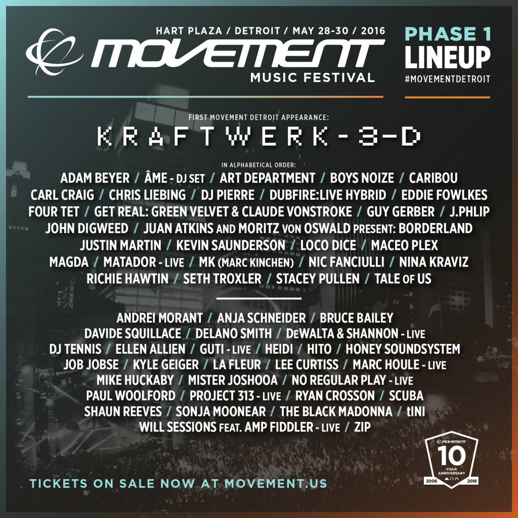 Movement 2016 lineup phase one