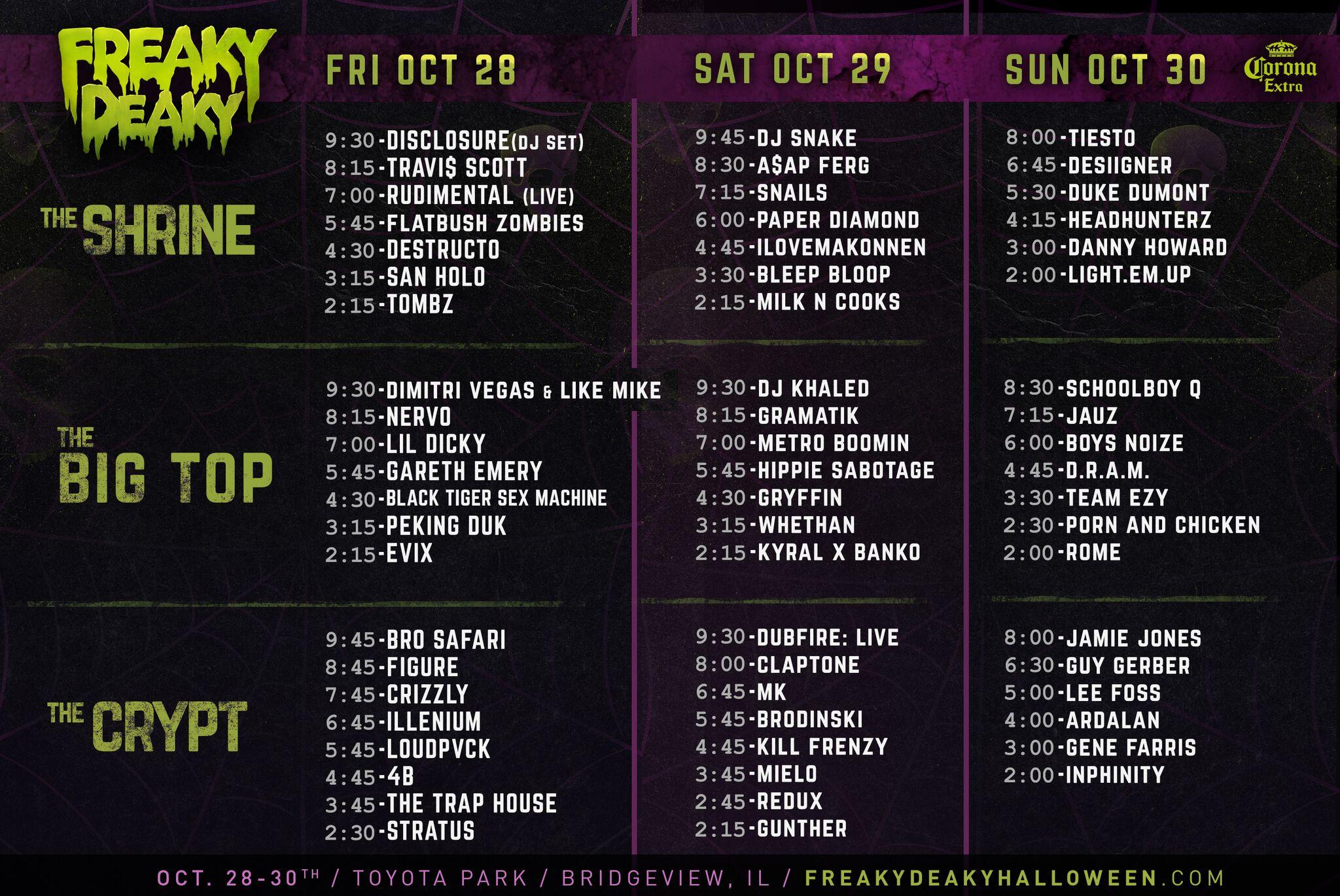 freaky deaky 2016 schedule