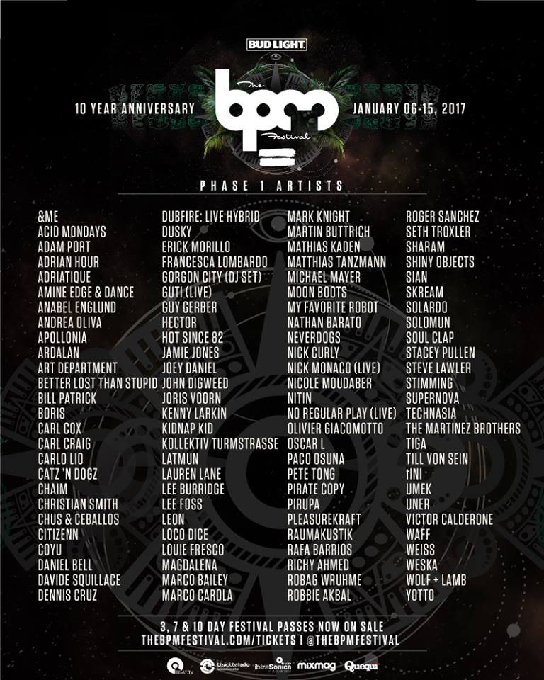 BPM Fest 2017 Phase One Lineup Artists