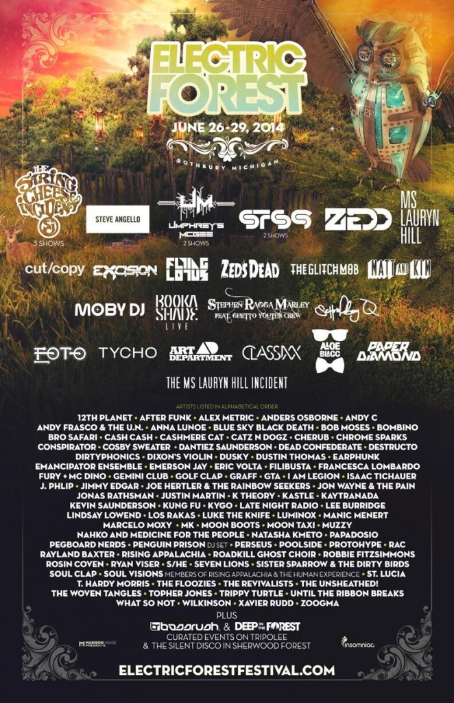 electric forest 2014 final lineup