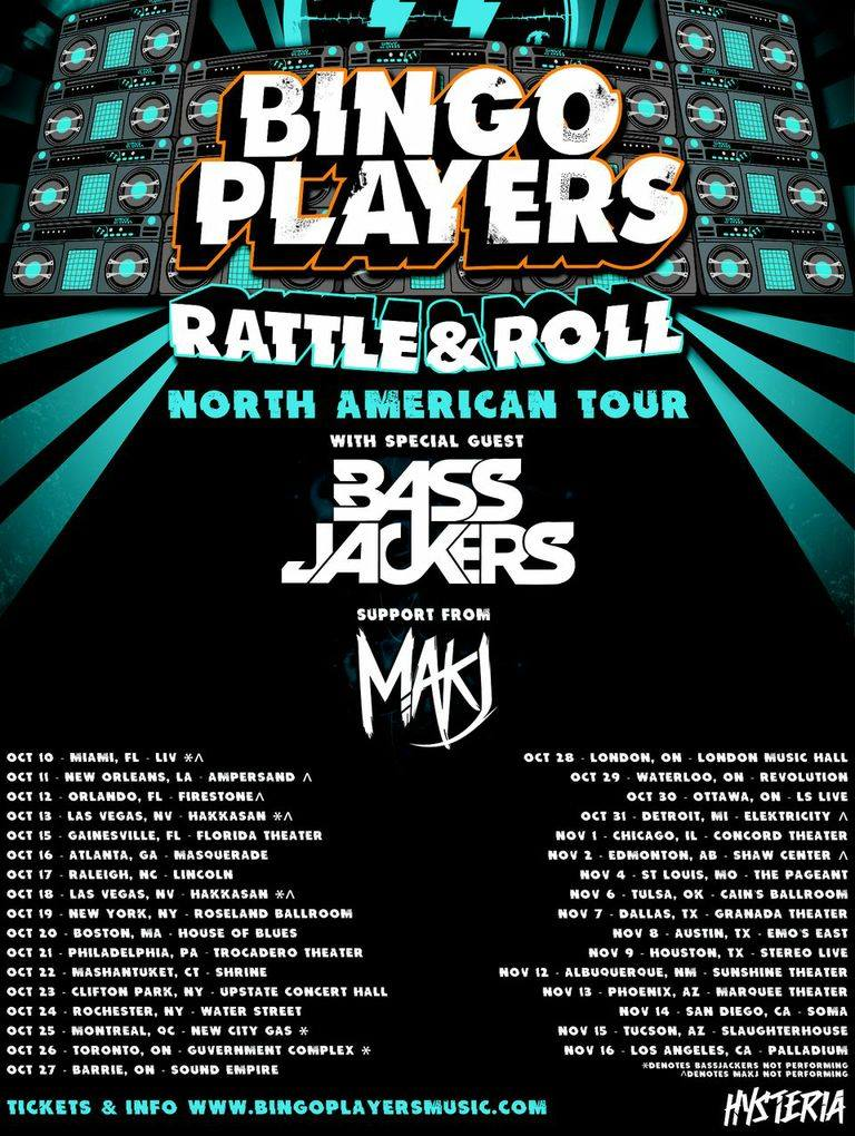 Bingo Players Rattle Roll tour flyer