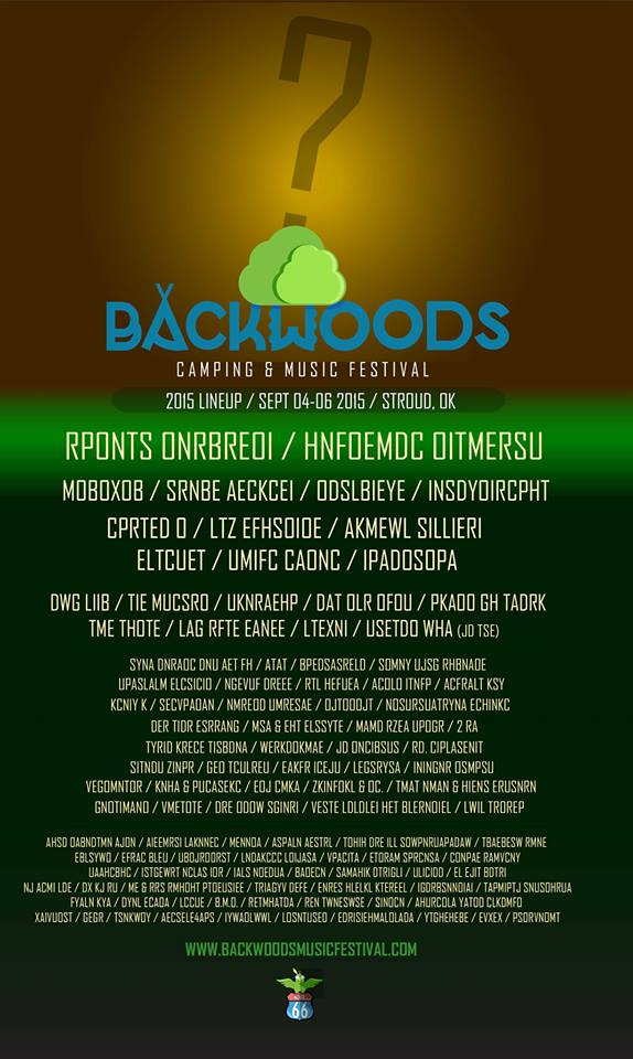 Backwoods 2015 Festival Scrambled Lineup